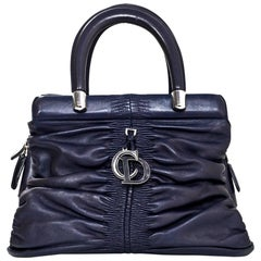 Christian Dior Navy Leather Small Ruched Karenina Handle Bag