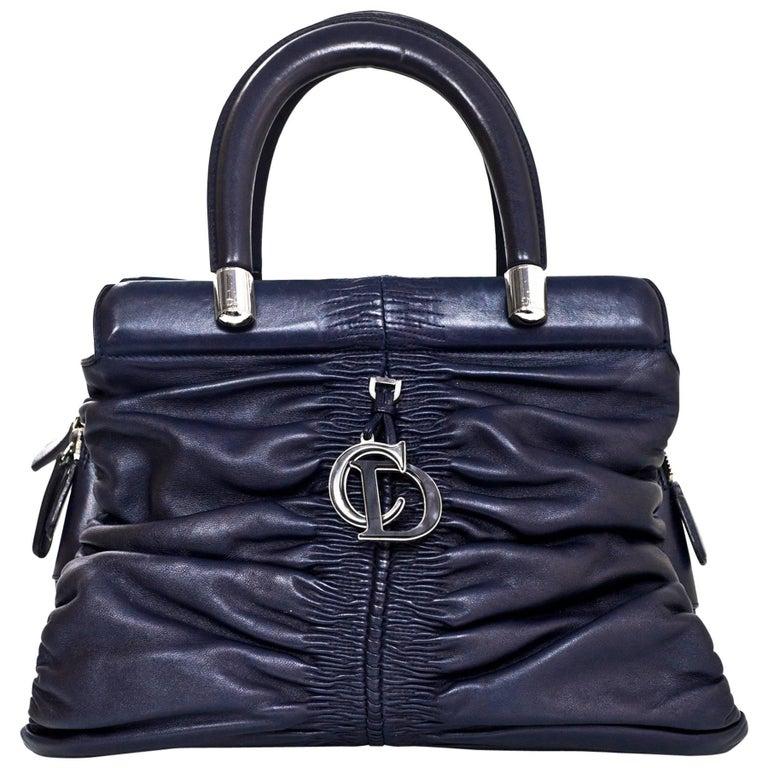 Christian Dior Navy Leather Small Ruched Karenina Handle Bag