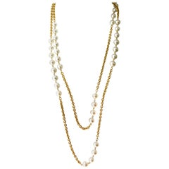 Chanel Multi Strand Gold and Pearl Necklace