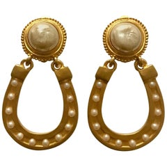 Karl Lagerfeld 1990s Lucky Horseshoe Earrings in Gold and Pearl Vintage