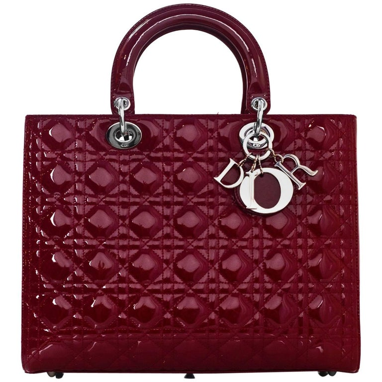 d8d7db94d1ab Christian Dior Red Patent Leather Cannage Quilted Large Lady Dior Bag w   Strap For Sale at 1stdibs