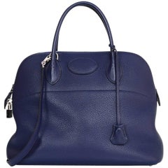 Hermes Blue Bleu Saphir Clemence Leather 35cm Bolide Bag with Receipt/Box/DB