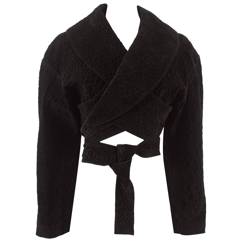 Alaia Autumn-Winter 1987 black suede cropped wrap jacket