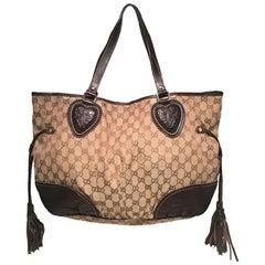 Gucci Monogram Large Tribeca Brown Leather Shoulder Bag Tote