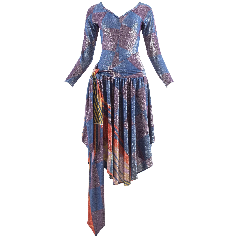 Gianni Versace 1980s lurex bodysuit and wrap skirt evening ensemble