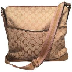 Gucci Medium Monogram Canvas and Leather Bronze & Pink Messenger Shoulder Bag