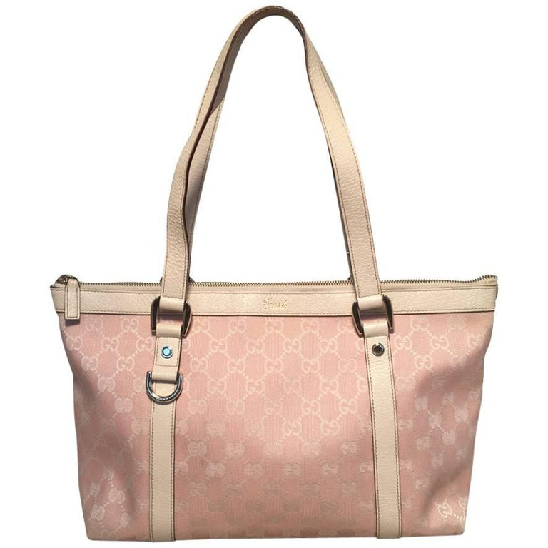 1b6b8de798a Gucci Pink Monogram Medium Abbey Shoulder Bag Tote For Sale at 1stdibs