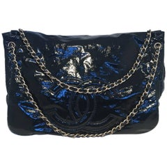 Chanel XL Black Quilted Patent Messenger Cross body Shoulder Bag Tote