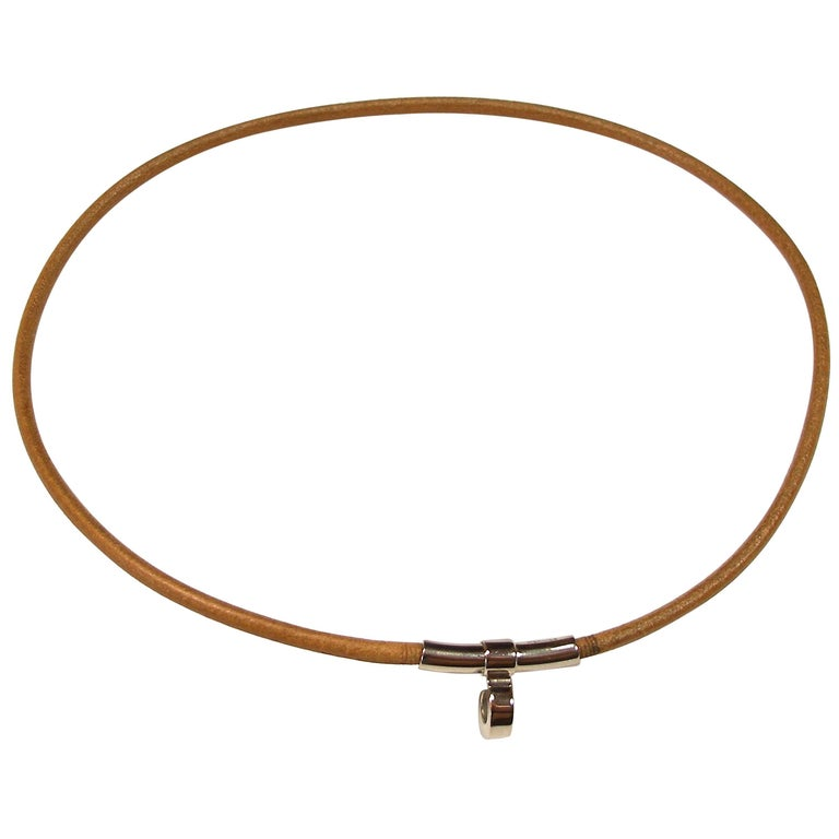 HERMES Logos Kelly Choker  Necklace Leather and Palladium / BRAND NEW  1