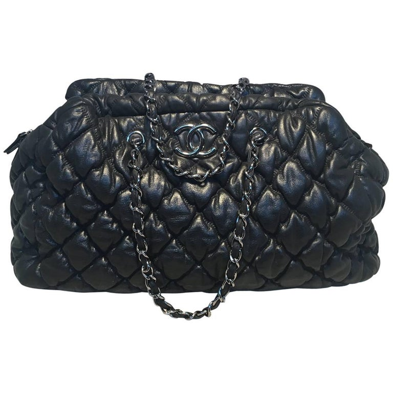 Chanel Quilted Puffy Leather Shoulder Bag Tote For Sale At