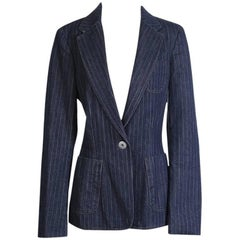 JPG Jeans Denim Pinstripe Blazer with Fringe