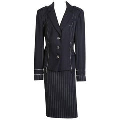 John Galliano for Christian Dior Wool Pin Striped Skirt Suit