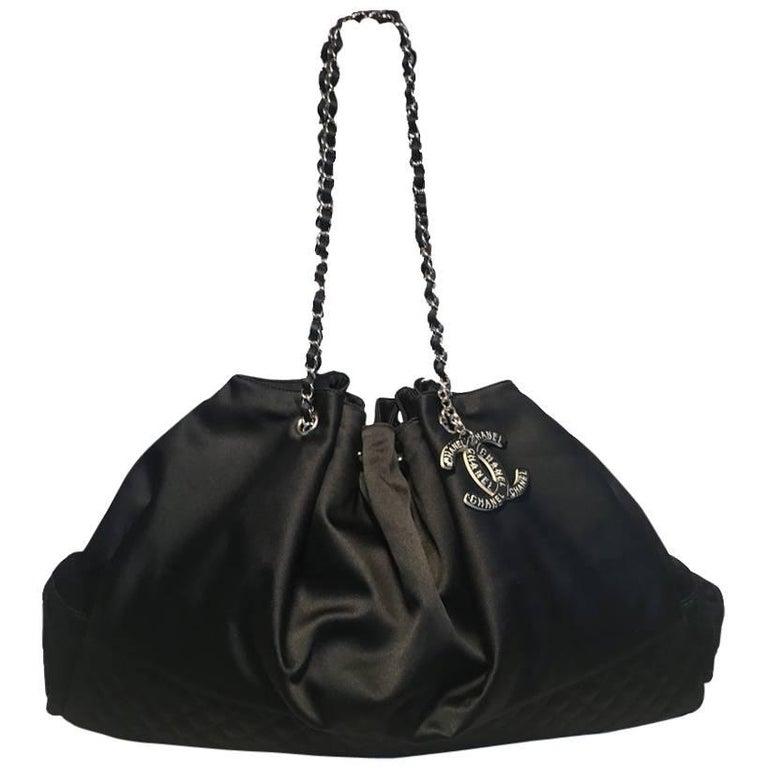 Chanel Black Silk Shoulder Bag