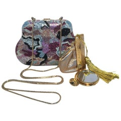 Judith Leiber Swarovski Crystal Mutlicolored Mini Purse Minaudiere Evening Bag