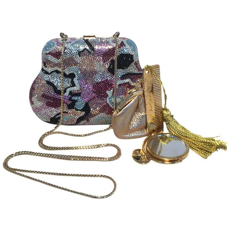 Judith Leiber Swarovski Crystal Mutlicolored Mini Purse Minaudiere Evening Bag For Sale