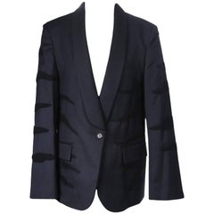 Maison Margiela Navy Blazer with Tiger Stripes
