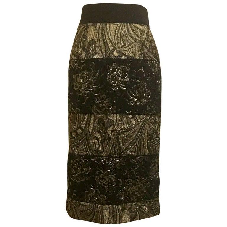 Dolce & Gabbana Gold and Black Jacquard Straight Pencil Skirt