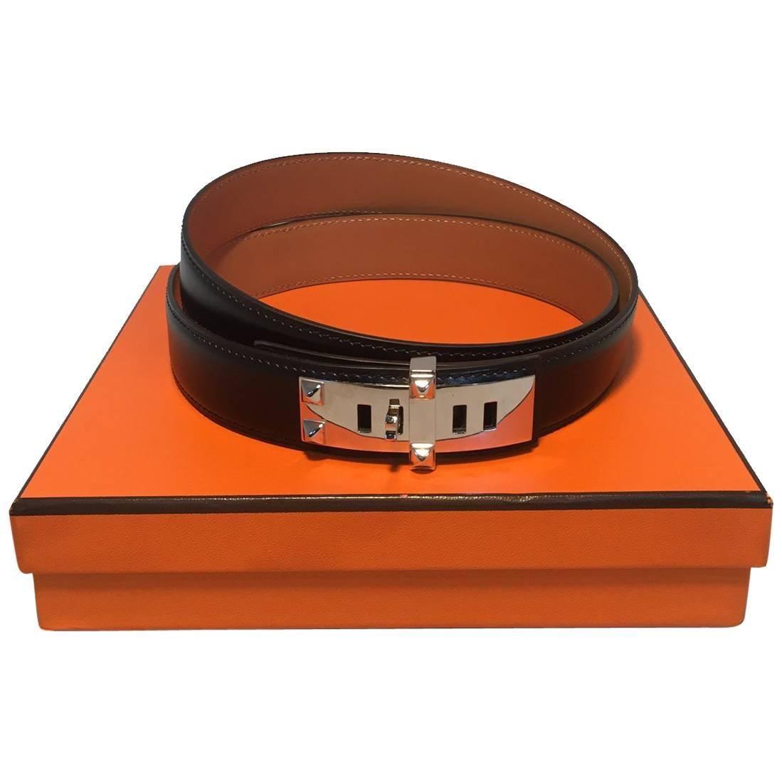 Hermes 90cm Black Box Calf Leather Collier De Chien Belt with Silver PDH