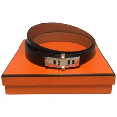 Hermes 95cm Black Leather Silver PDH Belt