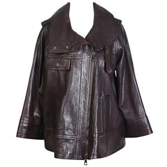 Proenza Schouler Brown Leather A Line Jacket