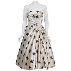1955 Hattie Carnegie Ivory & Black Flocked Floral Satin Strapless Party Dress