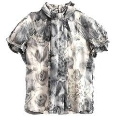 Christian Dior Grey Sheer Silk Blouse Sz IT40 with Garment Bag