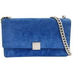 Celine Pacific Blue Suede Leather Silver Chain Flap Crossbody Shoulder Bag