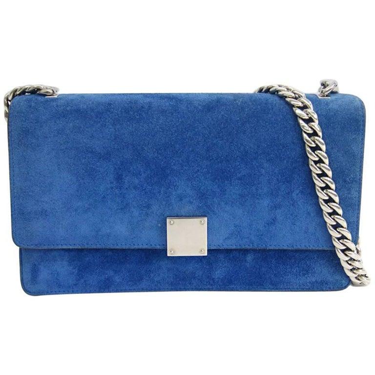 Celine Pacific Blue Suede Leather Silver Chain Flap Crossbody Shoulder Bag