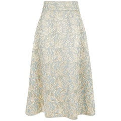 Dolce & Gabbana Gold & Blue Metallic Skirt w/Foliate Pattern