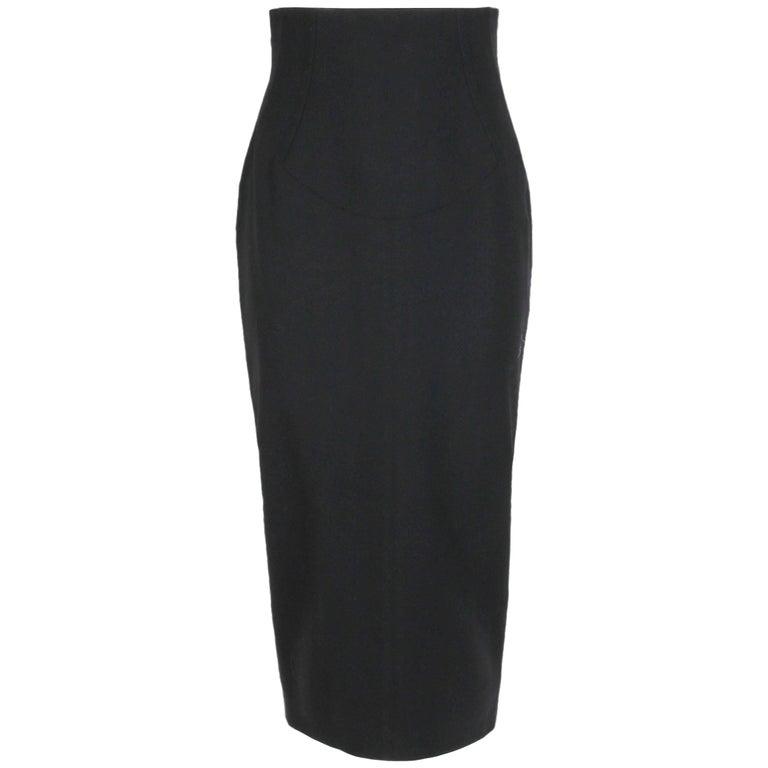 Azzedine Alaia Black High-Waisted Pencil Skirt with Original Tags, 1991