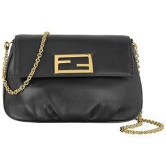 Fendi Black Leather Gold Charm Small Evening Clutch Shoulder Crossbody Flap Bag