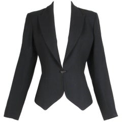 1991 Azzedine Alaia Black Wool Fitted Jacket Blazer