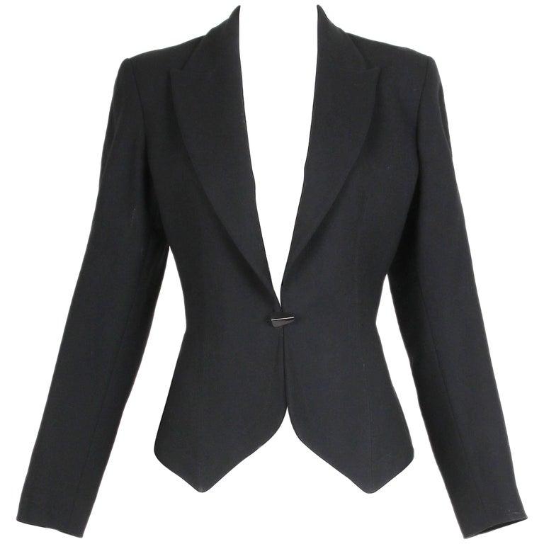 1991 Azzedine Alaia Black Wool Fitted Jacket Blazer For Sale