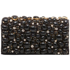 Prada Black Silk Satin Raso Pietre Evening Clutch, Spring 2011