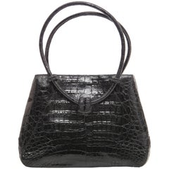 Nancy Gonzalez Black Crocodile Handbag