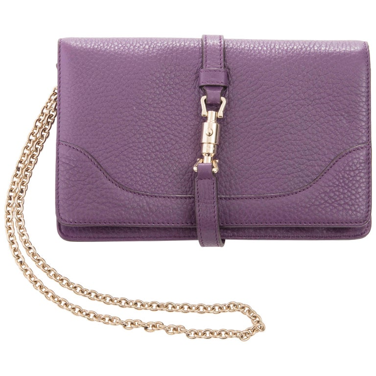 848edfaa455f ... Gucci Amethyst Leather Wallet On Chain Shoulder Bag For Sale