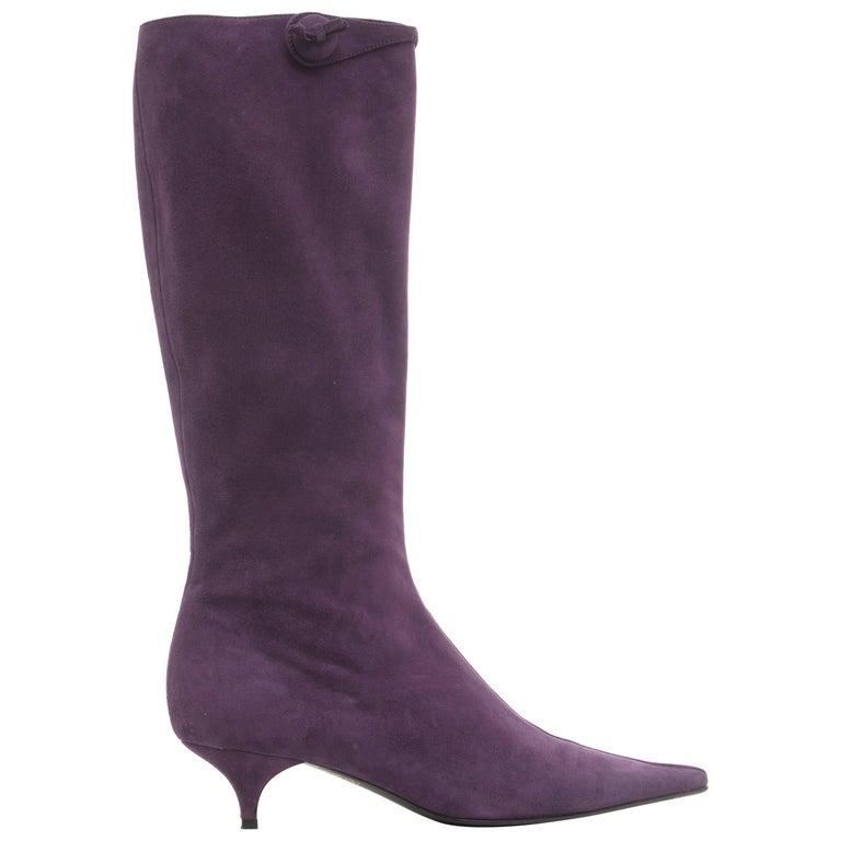 prada amethyst suede kitten heel boots for sale at 1stdibs