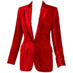1999 Gucci by Tom Ford Red Velvet Slim Jacket Blazer