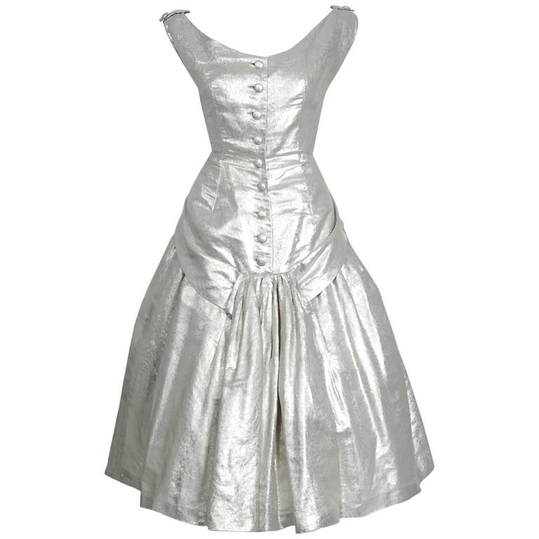 1950's Suzy Perette Metallic Silver Lame Sculpted Full Circle-Skirt Party Dress For Sale