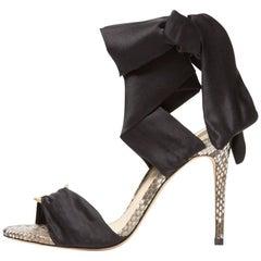 Alexandre Birman New Snakeskin Python Black Ribbon Evening Heels Sandals in Box