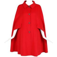 Giorgio Armani Collezioni Red Wool Angora Cape
