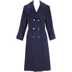 Yves Saint Laurent Navy Blue Wool Double-Breasted Coat