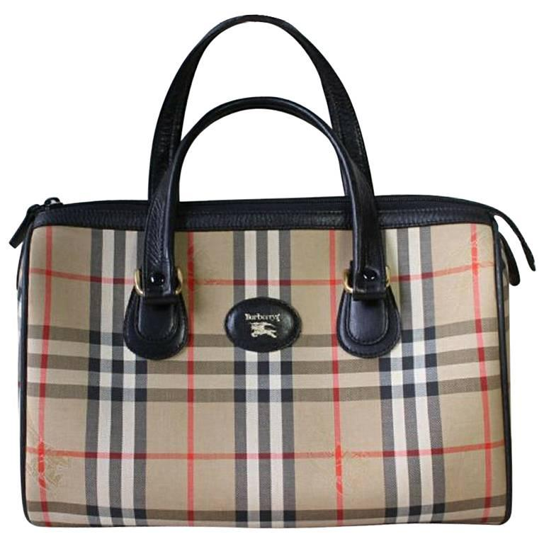 Vintage Burberry Classic Beige Nova Check Sdy Bag Style Handbag With Leather