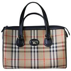 Vintage Burberry classic beige nova check speedy bag style handbag with leather