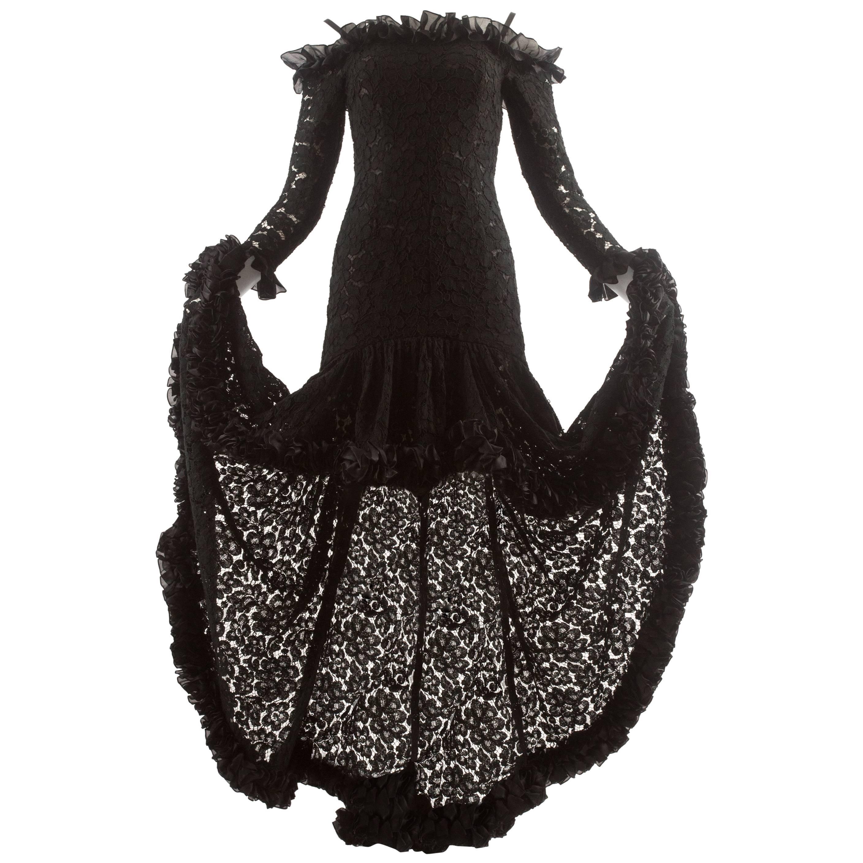 Yves Saint Laurent Autumn-Winter 1987 black lace flamenco evening dress