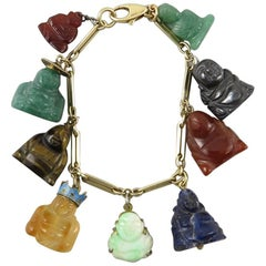 Fabulous Charm Bracelet of Carved Gemstone Buddhas. 1960's.