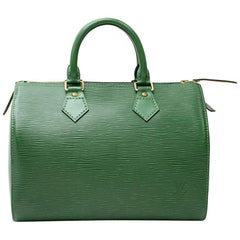 Vintage Louis Vuitton Speedy 25 Green Epi Leather City Hand Bag