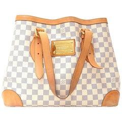 Louis Vuitton Hampstead MM White Azur Damier Canvas Large Shoulder Tote Bag