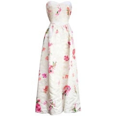 Nina Ricci Haute Couture long white bustier dress with pink flowers