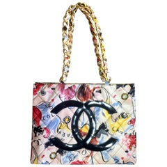 Vintage CHANEL vinyl shoulder bag with red, yellow, blue graffiti design with CC